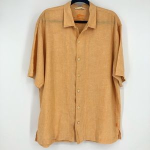 Tommy Bahama Orange 100 % Linen Short sleeve shirt